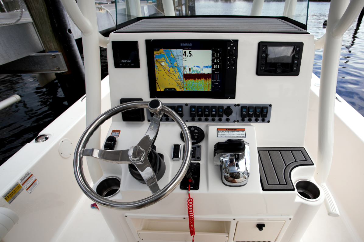Bay Boat Console With Simrad Multi-Function Display
